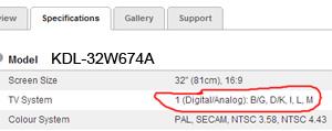 Specification SONY KDL-32W674A